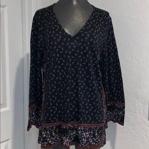 LUCKY 🍀 BRAND black/floral long sleeve top sz M